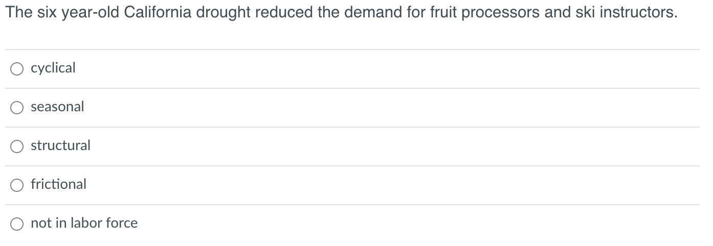 The six year-old California drought reduced the demand for fruit processors and ski instructors. cyclical seasonal structural
