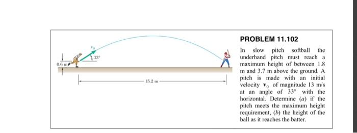 PROBLEM 11.102 slow pitch softball underhand pitch must reach a maximum height of between 1.8 m and 3.7 m above the ground. A