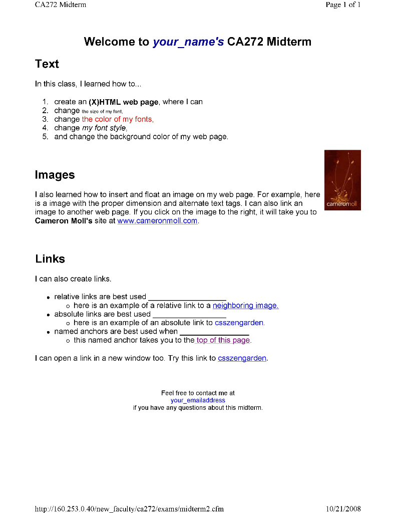 Solved: HTML Web Page Project: Need Help To Create A Web P