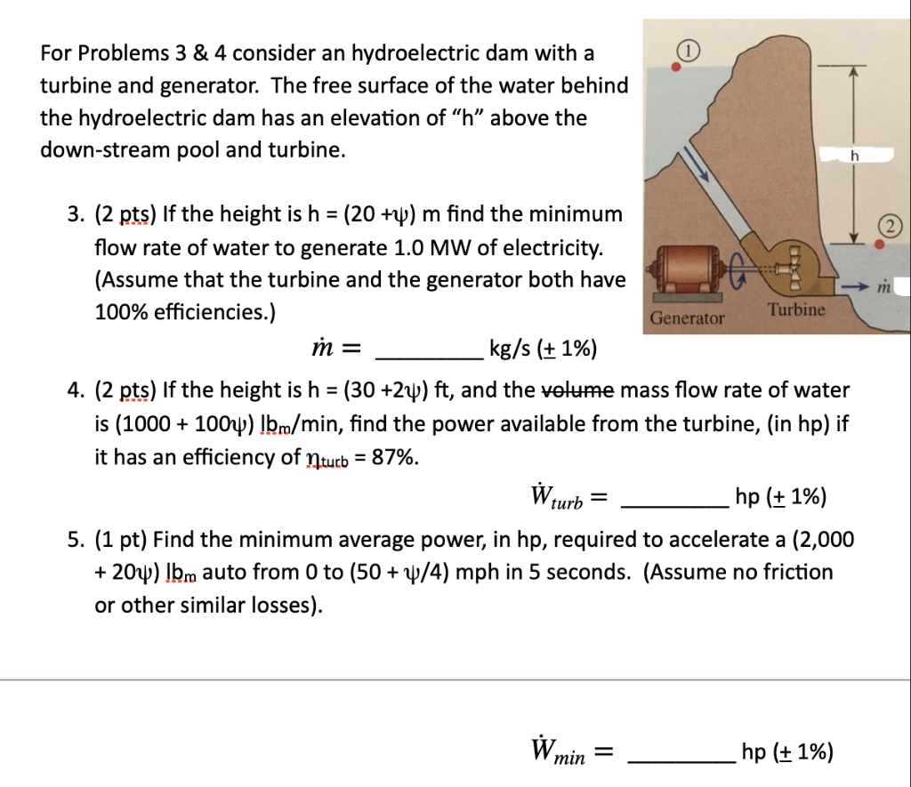 Solved For Problems 3 4 Consider An Hydroelectric Dam W Chegg Com