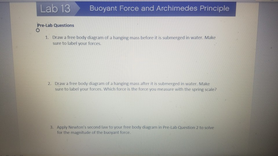 Solved  Lab 13 Buoyant Force And Archimedes Principle Pre