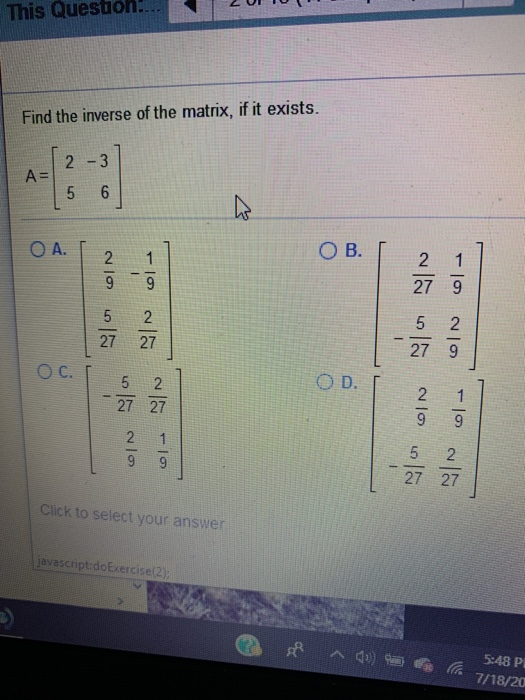 Solved: This Questioh! Find The Inverse Of The Matrix, If
