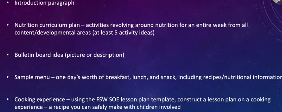 Introduction paragraph Nutrition curriculum plan – activities revolving around nutrition for an entire week from all content/