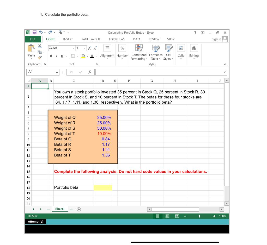 Solved 20. Calculate The Expected Return And Standard Devi ...
