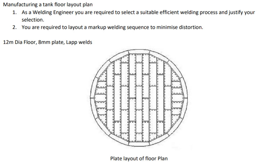 Solved Manufacturing A Tank Floor Layout Plan 1 As A Wel Chegg Com