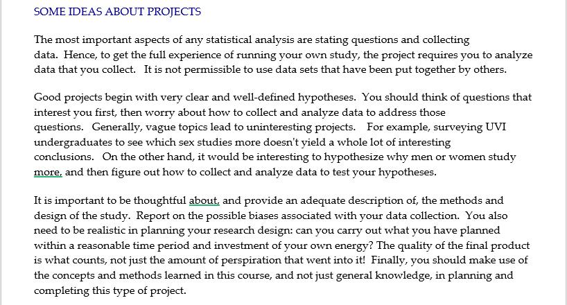 Good Statistics Project Topics