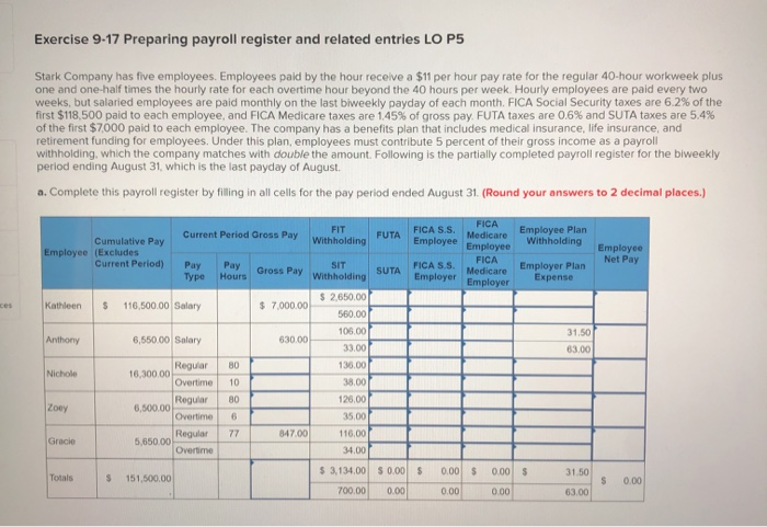 28++ Accounting payroll register worksheet answers Popular