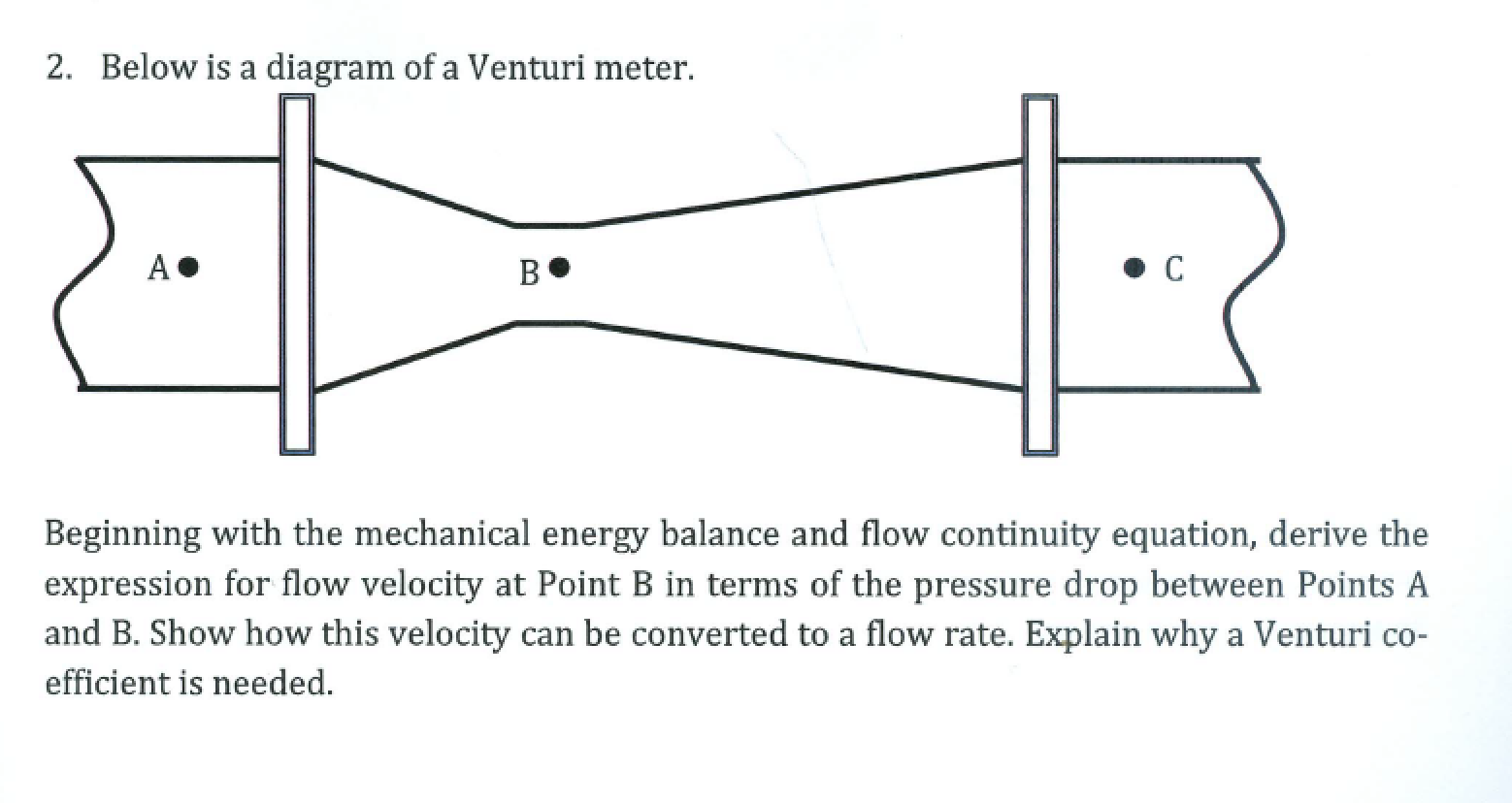 venturi diagram solved 2 below is a diagram of a venturi meter    begin  diagram of a venturi meter