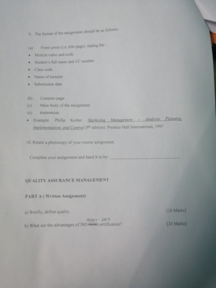 Solved Quality Management Assignment Instructions 1 This