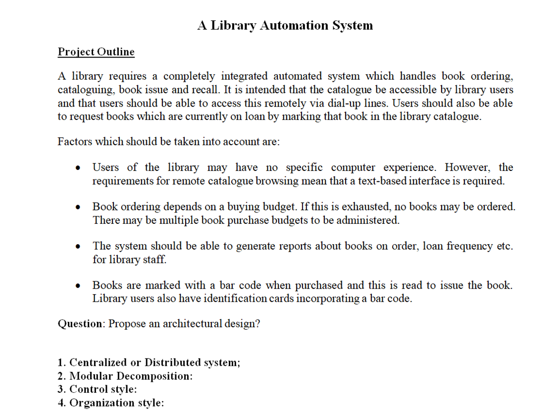 A Library Automation System Project Outline A Libr Chegg Com