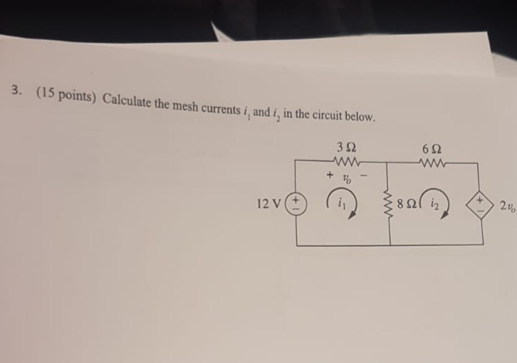 3. (15 points) Calculate the mesh currents i, and i, in the circuit below. 3Ω 6Ω + και 12vΟ (1) ξερ(10) 24,