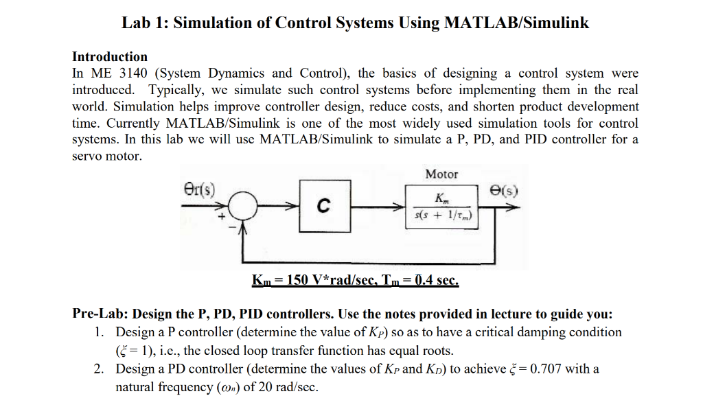 Solved: Lab 1: Simulation Of Control Systems Using MATLAB