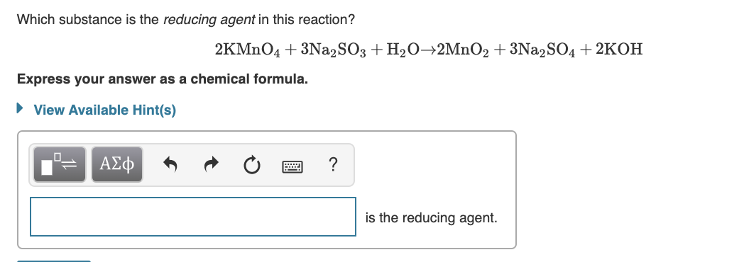 Which substance is the reducing agent in this reaction?