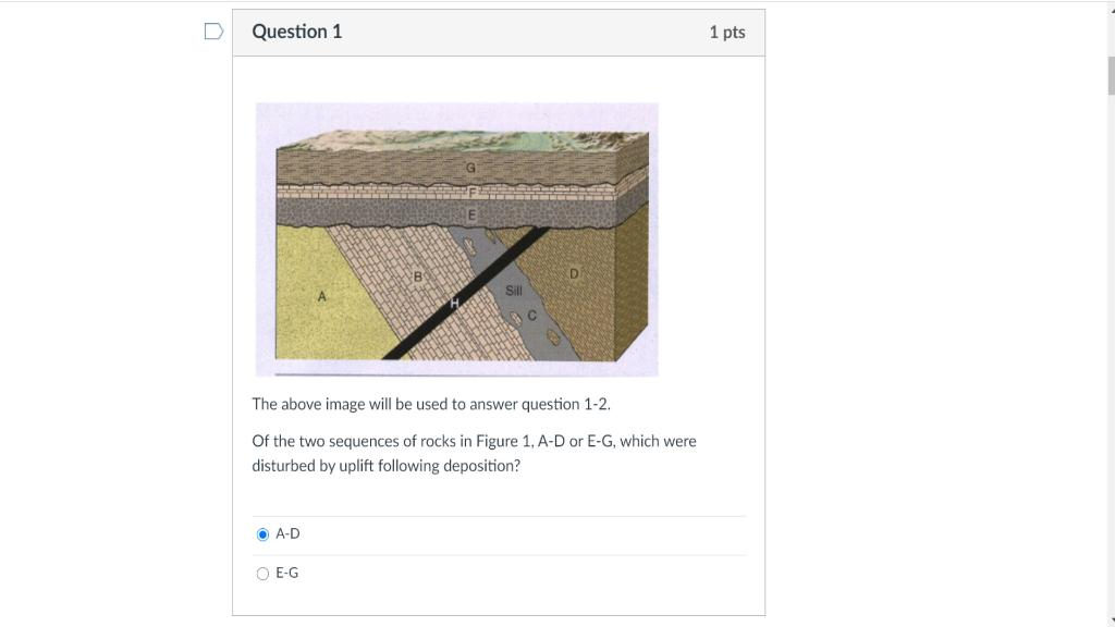 0 Question 1 1 pts The above image will be used to answer question 1-2. Of the two sequences of rocks in Figure 1, A-D or E-G