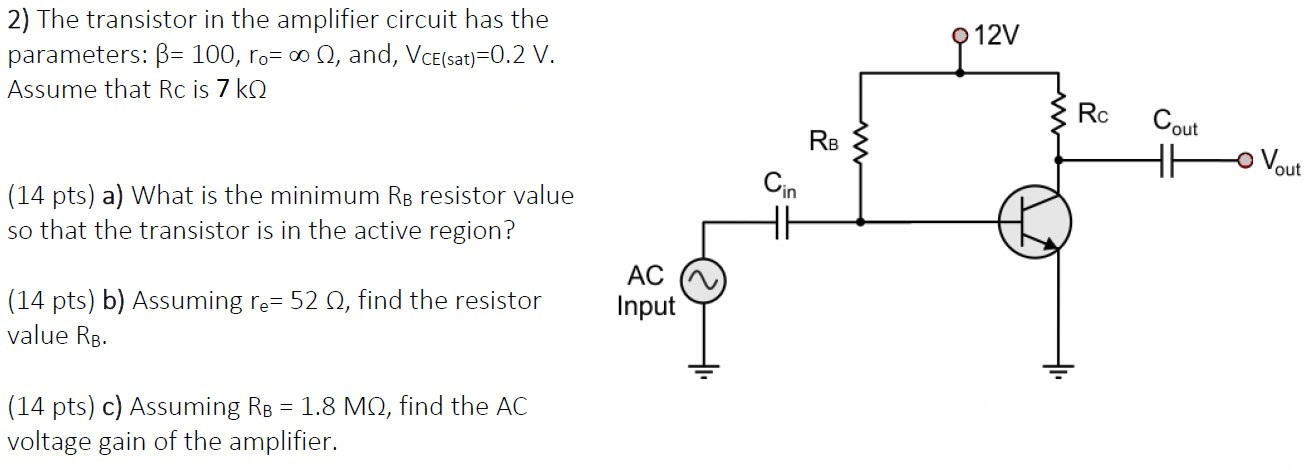 Solved 12v 2 The Transistor In The Amplifier Circuit Has Chegg Com