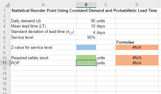 BC Statistical Reorder Point Using Constand Demand and Probabilistic Lead Time 1 Daily demand (d) Mean lead time (LT) Standar