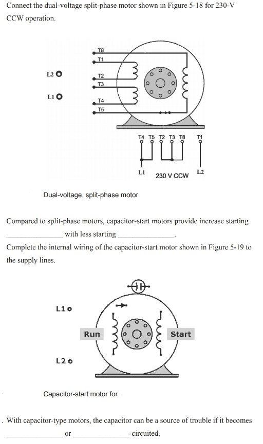 capacitor start motor diagrams solved connect the dual voltage split phase motor shown i  connect the dual voltage split phase