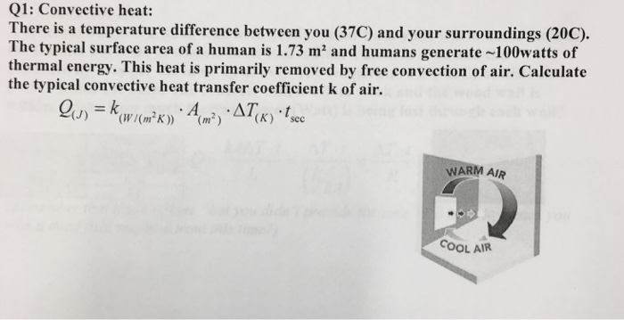 free convective heat transfer coefficient of air at 20c