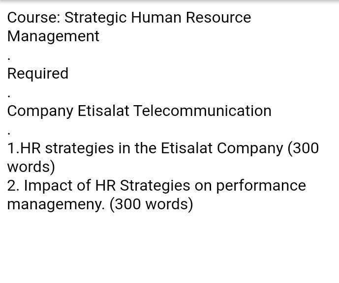 1 Hr Photo >> Course Strategic Human Resource Management Requir