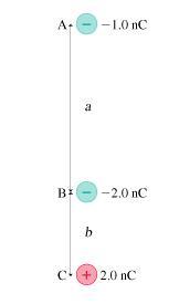 A- -1.0 nC B: -2.0 nC c + 2,0 nC