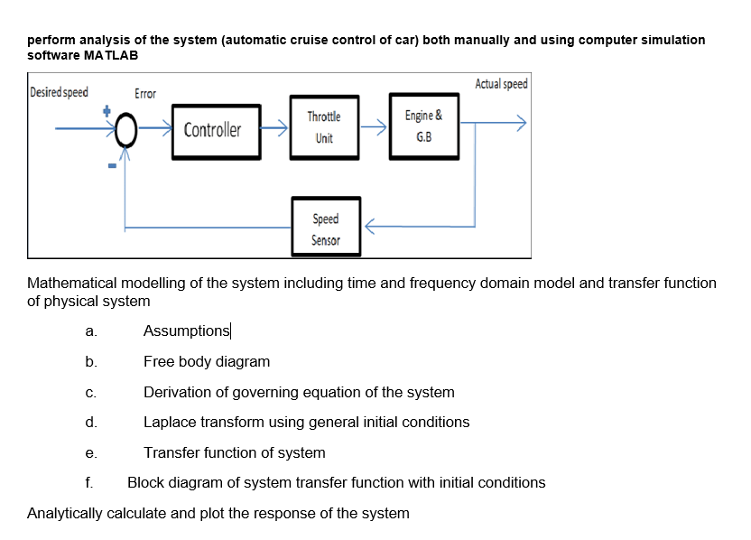 Perform Analysis Of The System (automatic Cruise C... | Chegg.comChegg