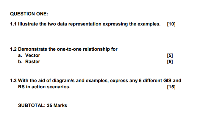 QUESTION ONE: 1.1 Illustrate the two data representation expressing the examples. [10] 1.2 Demonstrate the one-to-one relatio