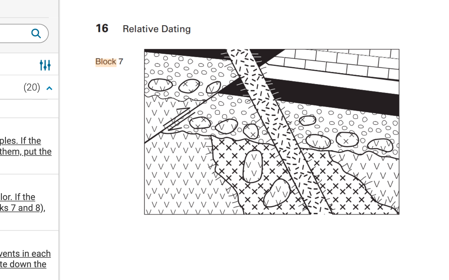 16 Q Relative Dating Block 7 (20) 000 ples. If the them, put the ti At .tt 바 ++ lor. If the ks 7 and 8), Jents in each te dow