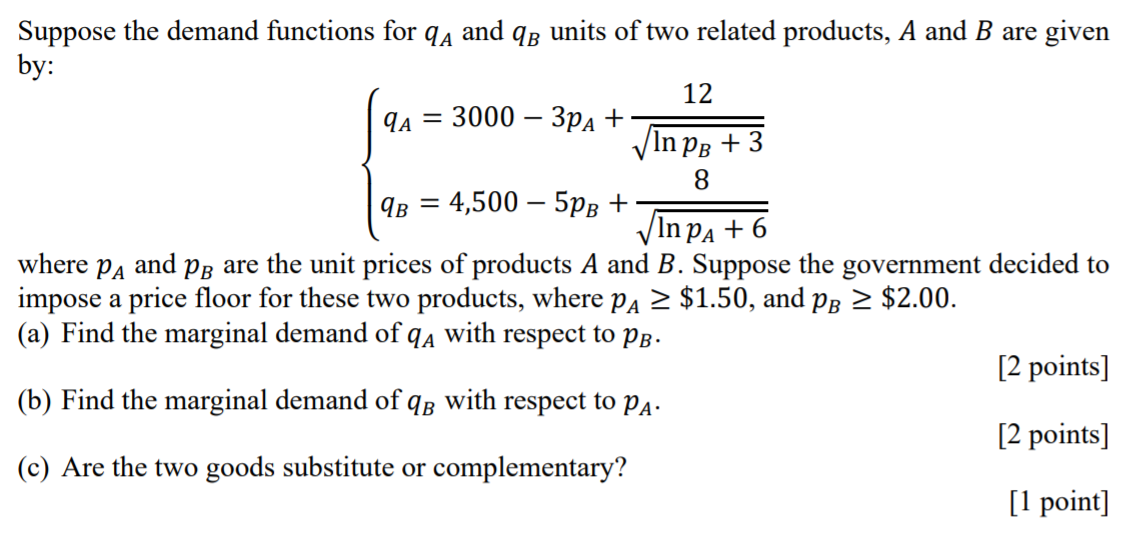 Solved: Suppose The Demand Functions For Qa And Q6 Units O... | Chegg.com