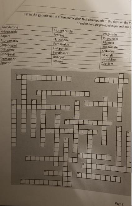 Solved Crossword Fill In The Generic Name Of The Medicati Chegg Com