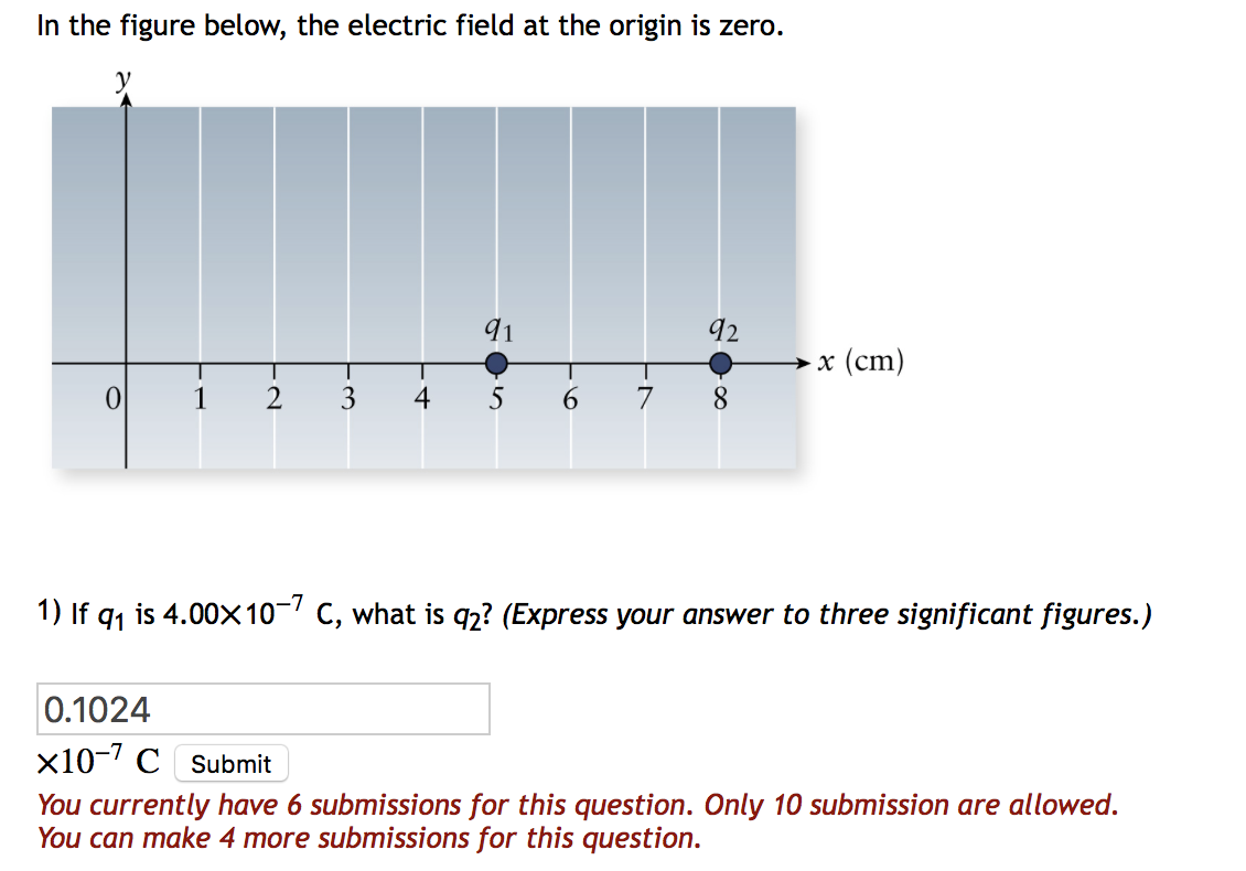In the figure below, the electric field at the origin is zero. 91 92 x (cm) 0 8 1 2 3 4 5 6 7 1) If q1 is 4.00x 10-7C, what i