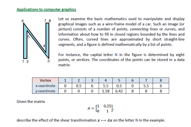 Solved: Applications To Computer Graphics Let Us Examine T