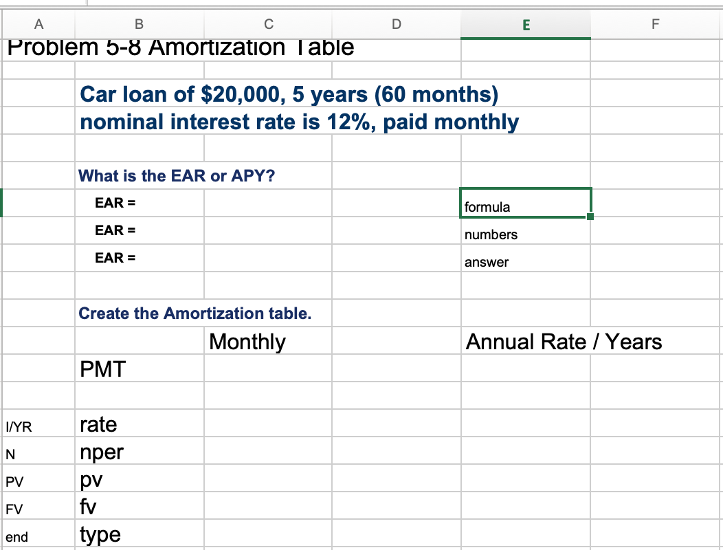 Solved Use This Template And Create An Amortization Table