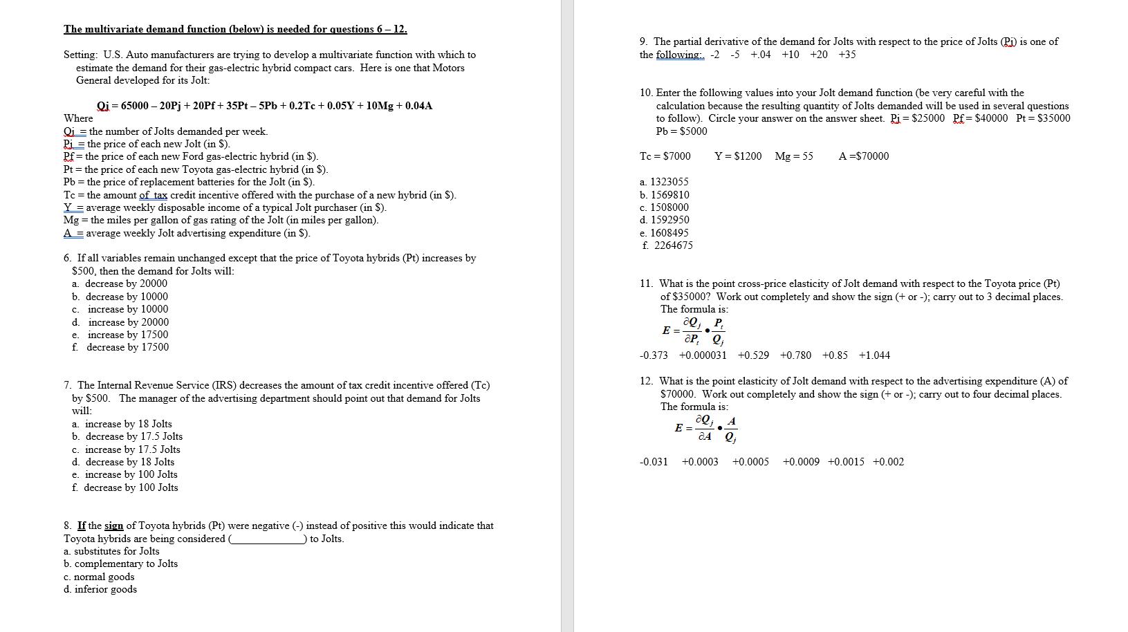 Solved The Multivariate Demand Function Below Is Needed