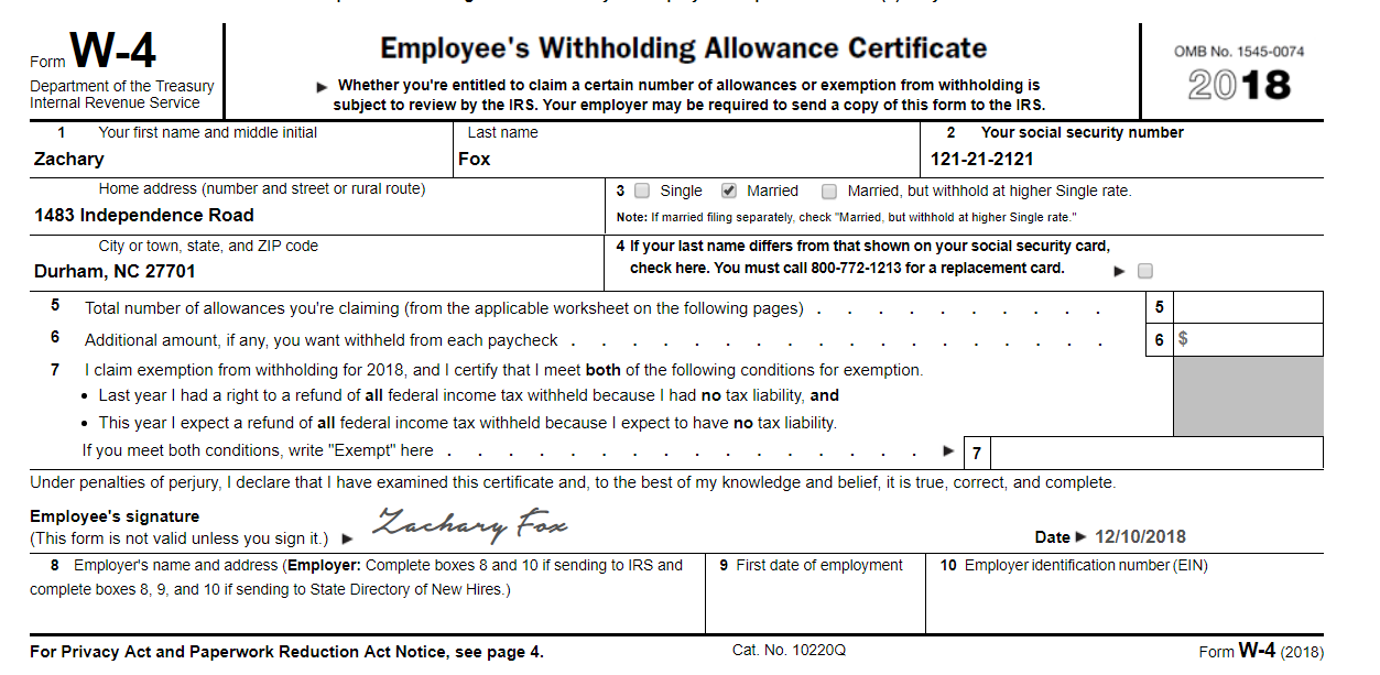 W-11 Form Complete The W-11 Form For Zachary Fox, A ...