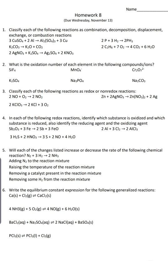Solved: Name Homework 8 (Due Wednesday, November 13) 1. Cl... | Chegg.com