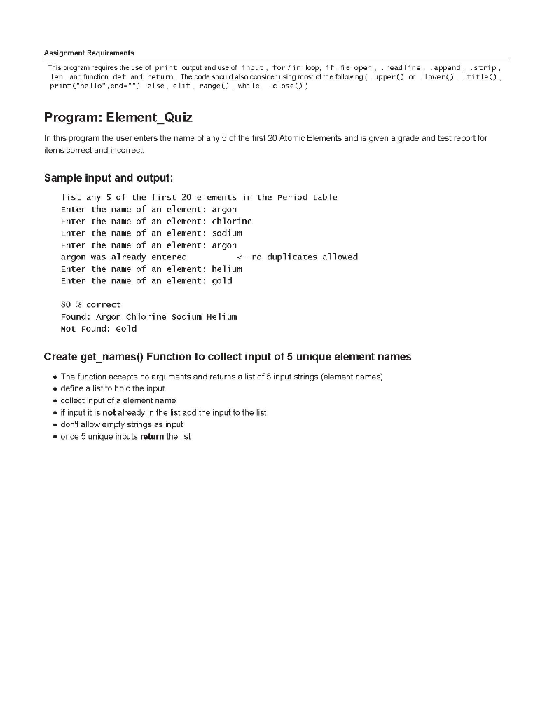 Solved: Assignment Requirements This Program Requires The