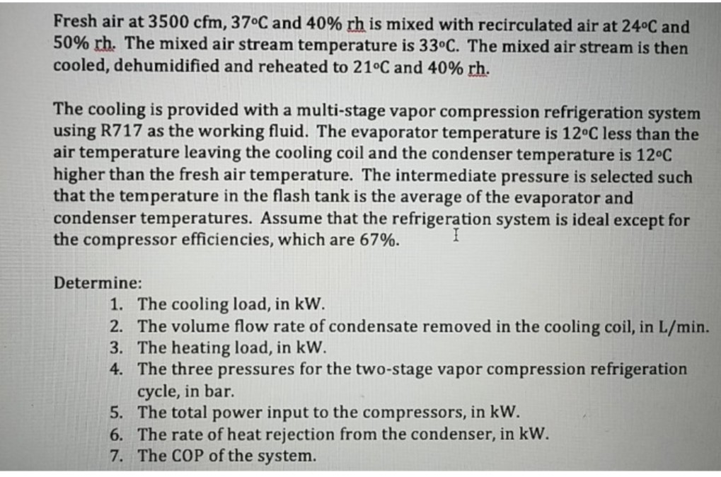 Solved: Fresh Air At 3500 Cfm, 37°C And 40% Rh Is Mixed Wi