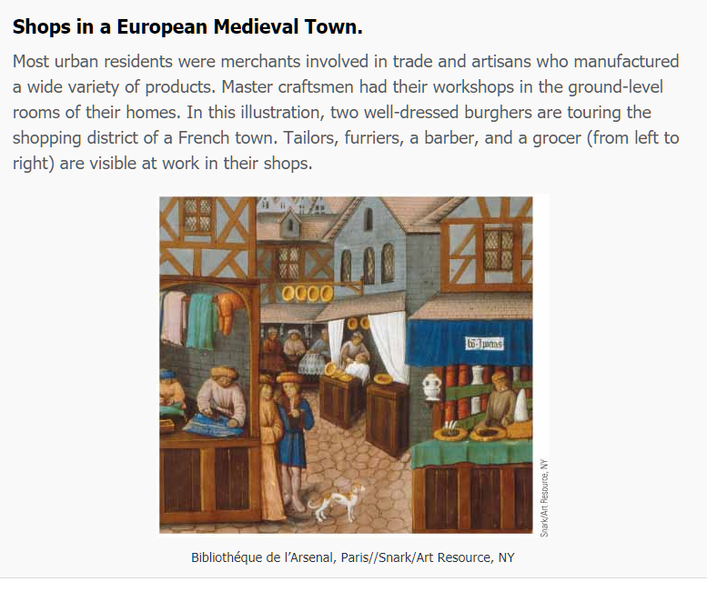 Shops in a European Medieval Town. Most urban residents were merchants involved in trade and artisans who manufactured a wide