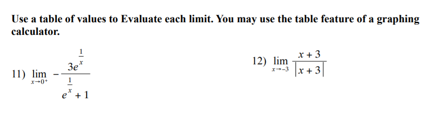 Use a table of values to Evaluate each limit. You may use the table feature of a graphing calculator. 1 x + 3 12) lim 3e+ x -