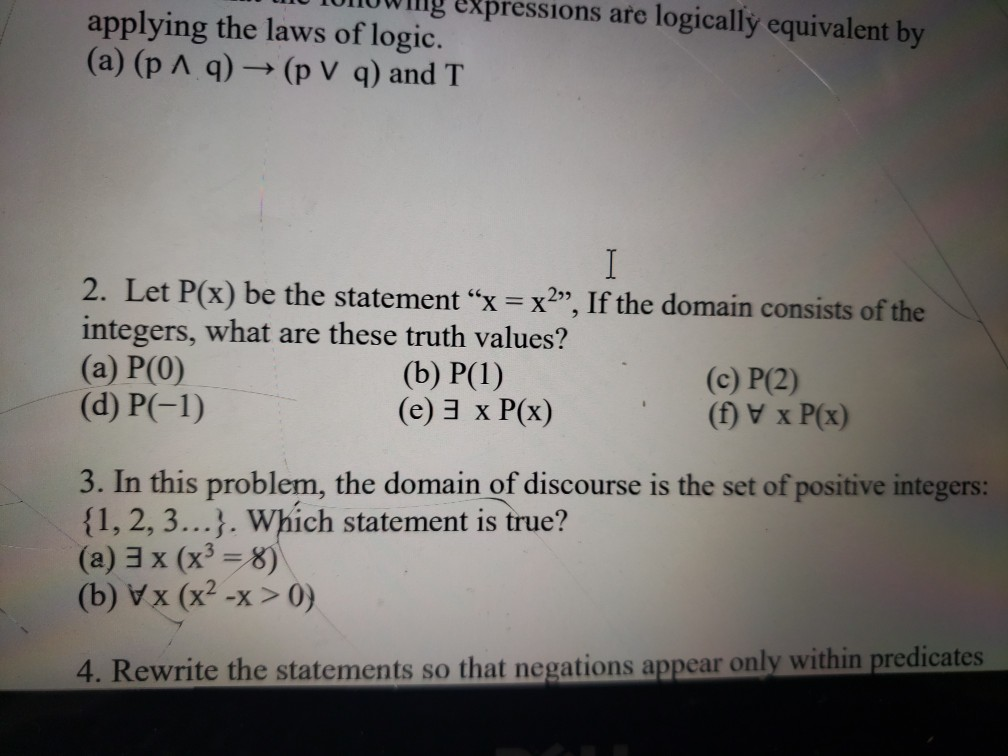 Solved: G Expressions Are Logically Equivalent By Applying ...