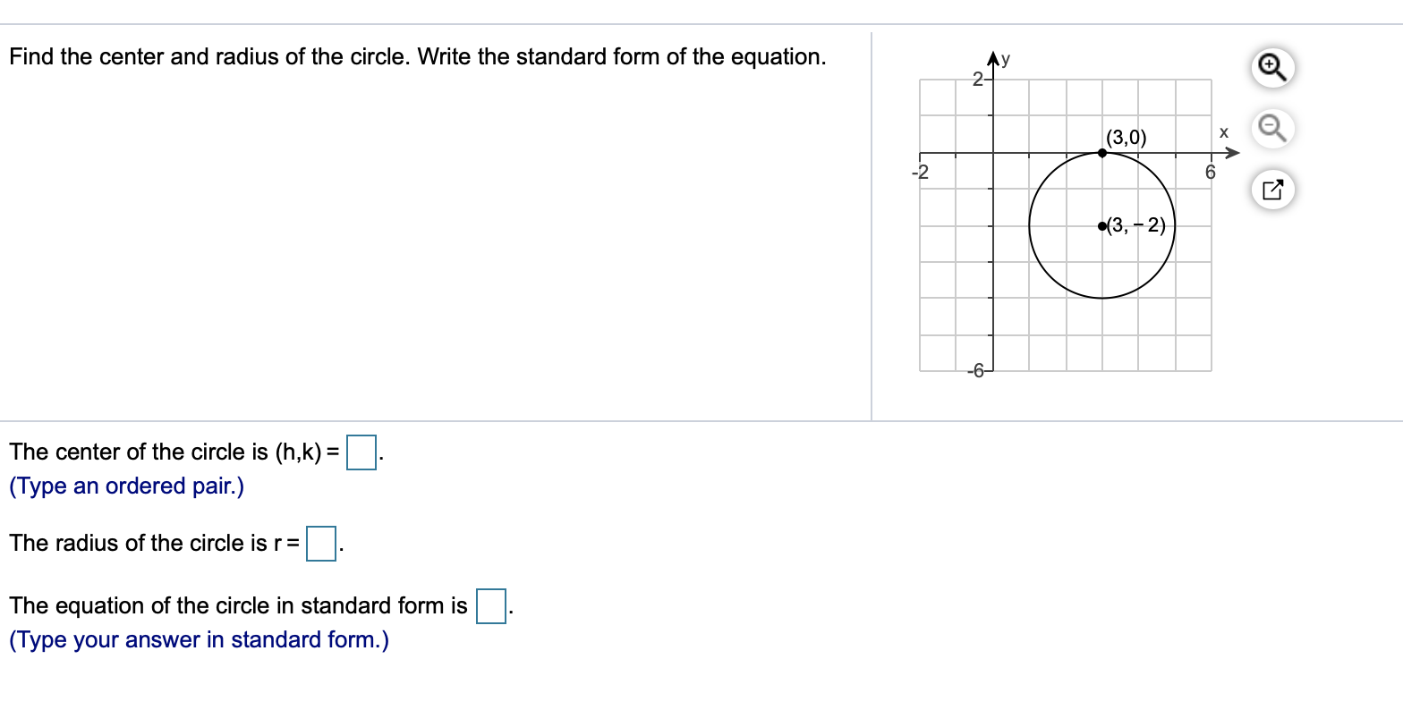 Find the center and radius of the circle. Write the  Chegg.com