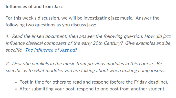 Influences Of And From Jazz For This Week's Discus    | Chegg com