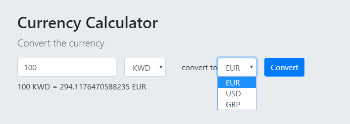 Create A Small Currency Conversion We