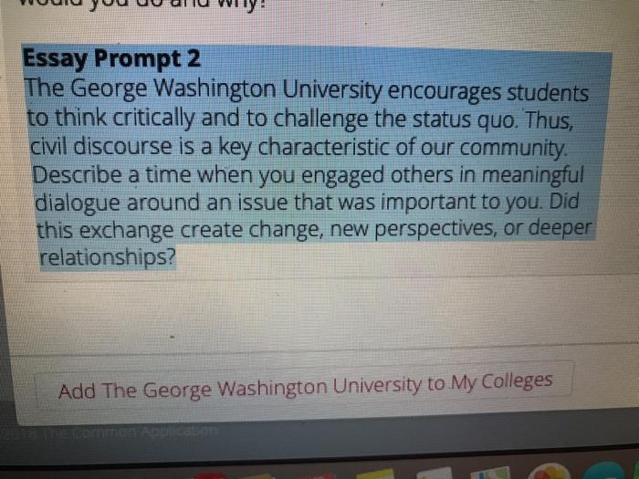 george washington university application deadline