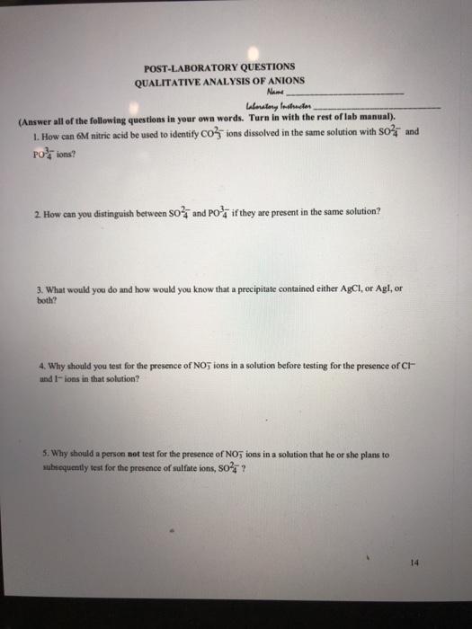 post lab questions qualitative analysis