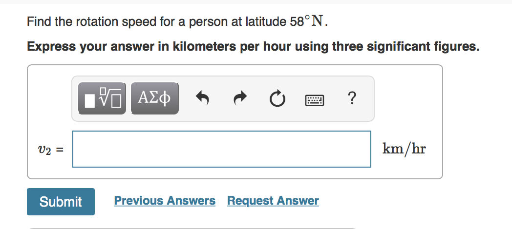 Find the rotation speed for a person at latitude 58°N. Express your answer in kilometers per hour using three significant fig