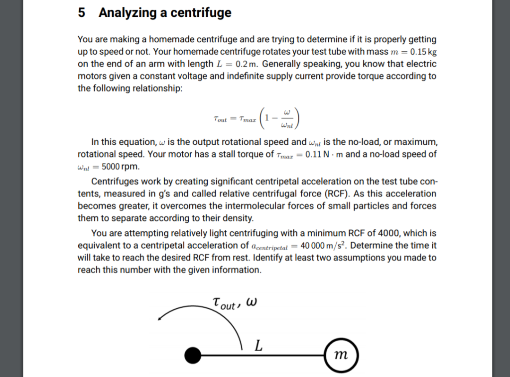 Analyzing A Centrifuge 5 You Are Making