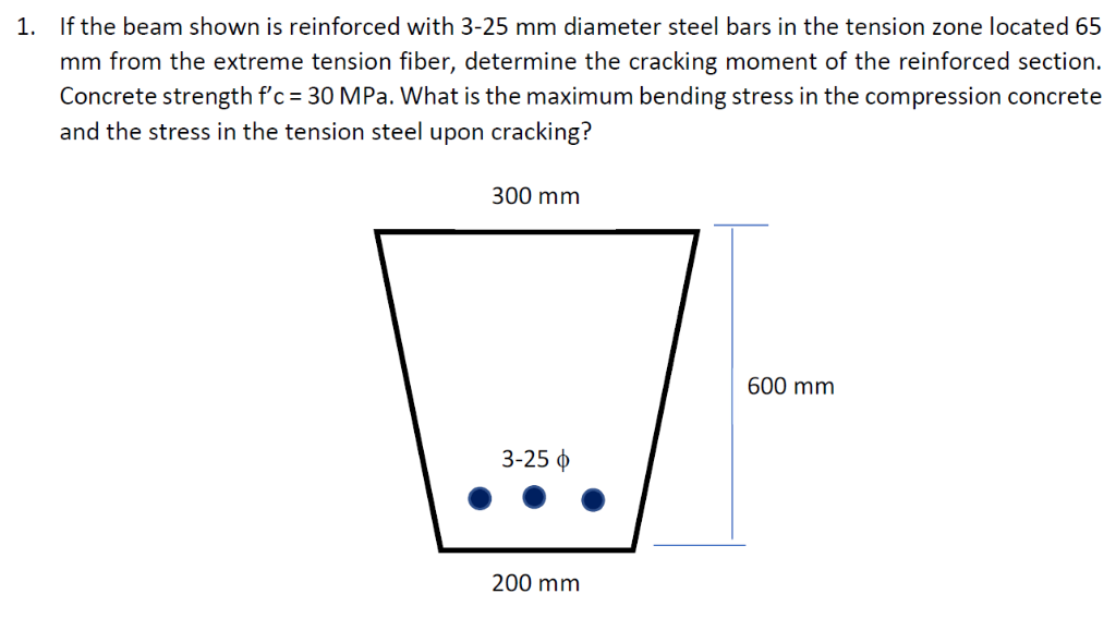 If the beam shown is reinforced with 3-25 mm diameter steel bars in the tension zone located 65 1. mm from the extreme tensio