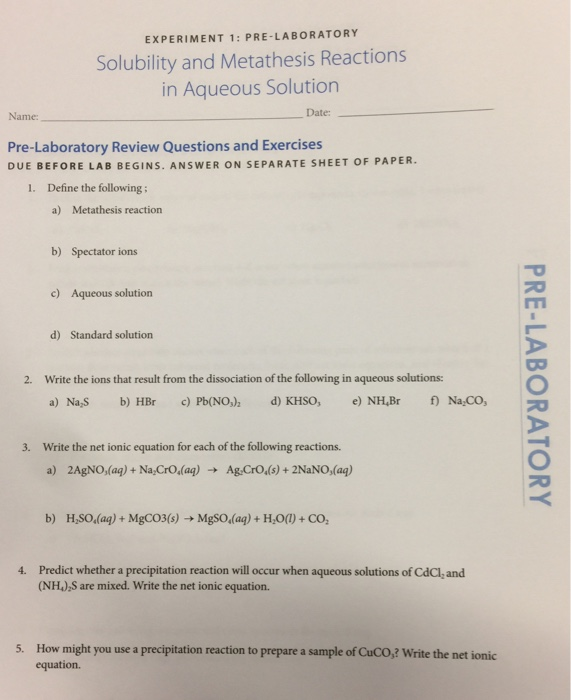 net ionic equation lab answers