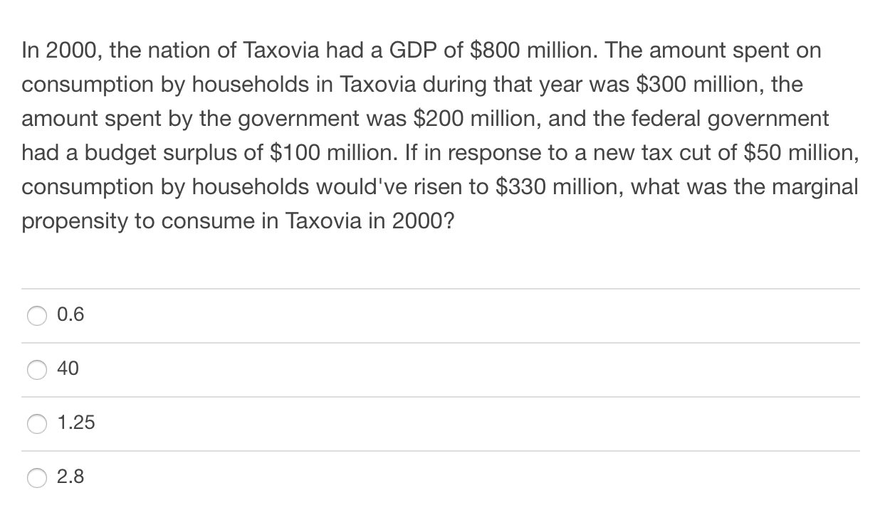 In 2000, the nation of Taxovia had a GDP of $800 million. The amount spent on consumption by households in Taxovia during tha